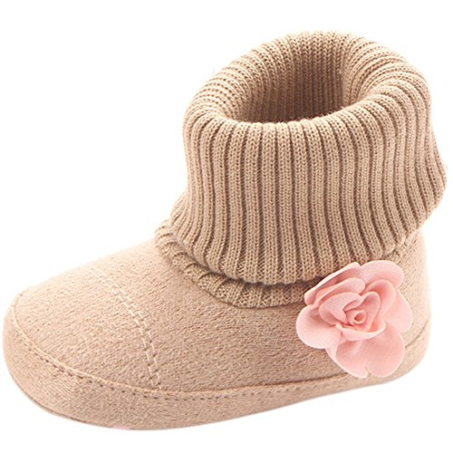 Infant Toddler Girl Boots Lovely Flower Knitted Baby Girl's Crib Shoes First Walkers Newborn Keep Warm Snow - Walker Life Shoe