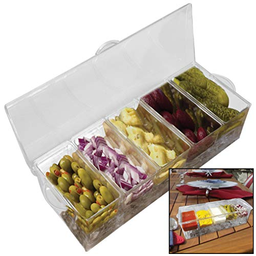 Evelots Chilled Condiment Server-Ice Tray-Handle-5 Detachable Containers And Lid