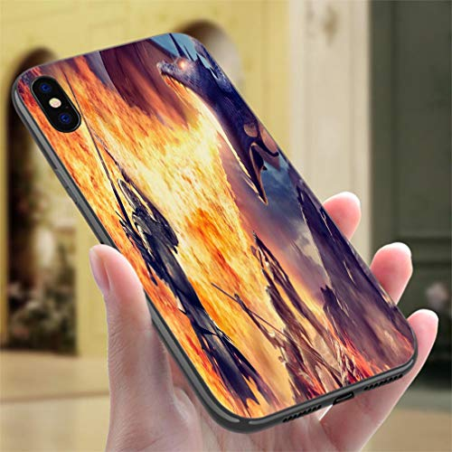 Creative iPhone Case for iPhone X/XS Medieval Knights with Weapons Attacked by Fire Breathing Dragon Resistance to Falling, Non-Slip,Soft,Convenient Protective Case ()