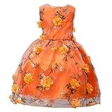 Bovake Lovely Flower Petals Dress Cheap Bridesmaid Party Princess Wedding Gift for Baby Girls, Flower Kids Girl Dress Princess Formal Pageant Holiday Wedding Bridesmaid Dress (130, Orange)