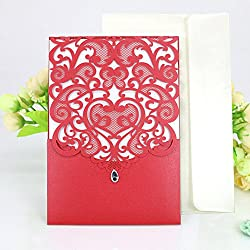 WOMHOPE 50 Pcs - Classics Vertical Wedding Invitation Hollow Laser Cut Lace Shimmer Party Invitations Cards Birthday Invitations Cards Wedding Favors (Red)
