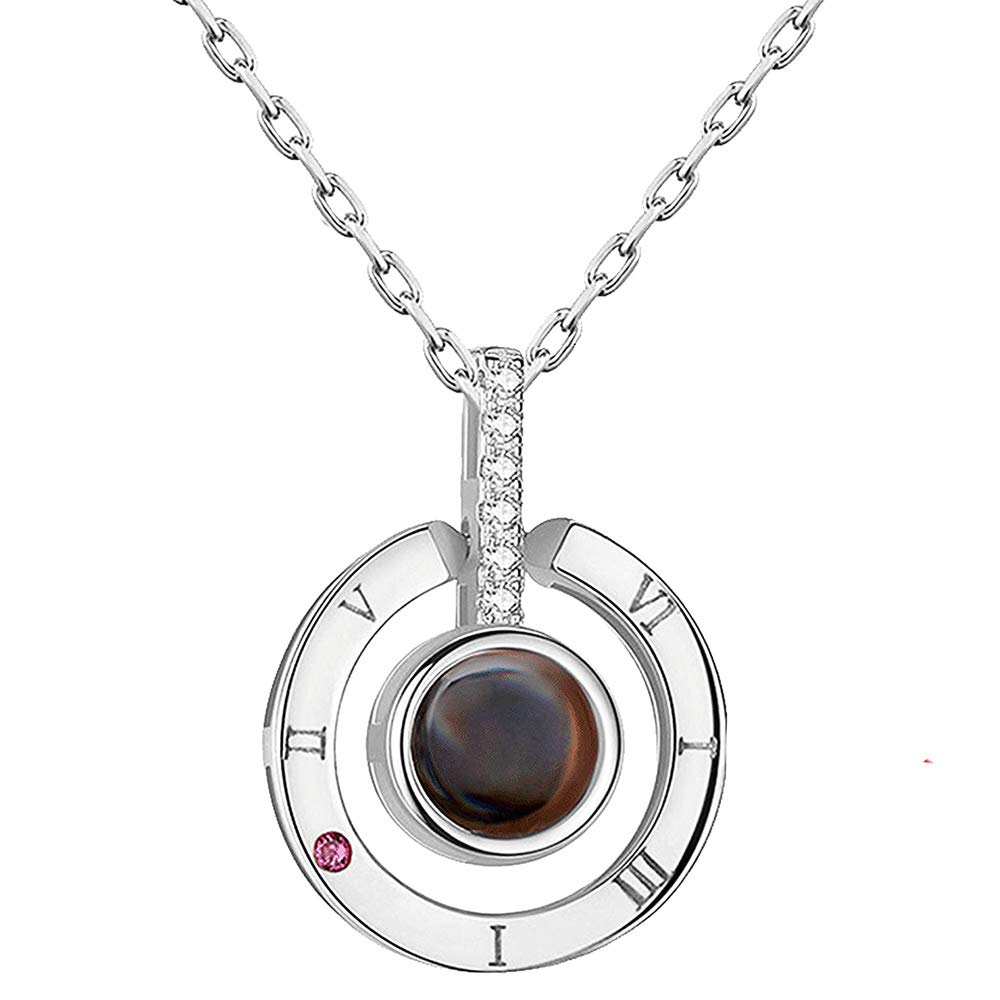 I Love You in 100 Different Languages Silver Pendant Necklace for Women and Girls