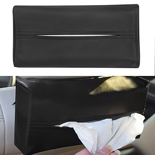 dxS8hhuo Tissue Storage | Faux Leather Tissue Paper Box Napkin Storage Case Holder Home Auto Car Vehicle - Black ()