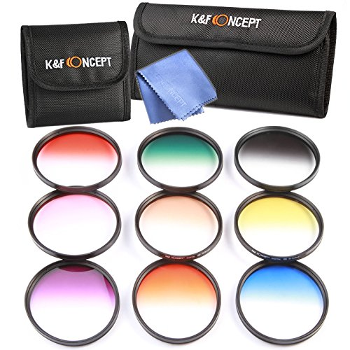 K&F Concept 9pcs 77mm Graduated Orange Blue Grey Red Purple Green Pink Brown Yellow Lens Accessory Filter Kit Graduate Filters for Canon 6D 5D Mark II 5D Mark III for Nikon D610 D700 D800 DSLR Cameras + Lens Cleaning Cloth + Filter Bag Pouch