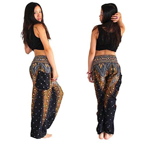 DMZing Women's Harem Pants Bohemian Clothes Boho Yoga Hippie Pants Smocked Waist (Black)