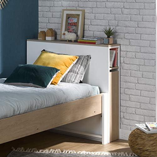 Tête pour lit 90x200 NOEMI avec rangement blanc