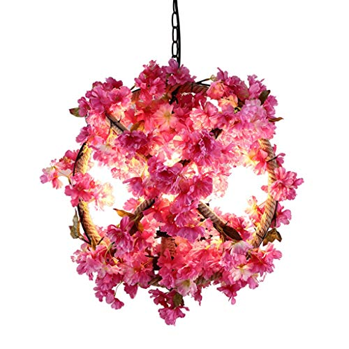 Chandeliers Wrought Iron Simulation Flower Simple Modern Living Room Bedroom Warm Romantic (Color : Pink, Size : 454540cm) ()