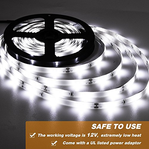 Onforu 50ft/15m Waterproof LED Strip Lights Kit, 6000K Cool White, 12V Flexible LED Rope with 450 SMD 2835 LEDs, UL Listed Power Supply with Switch, IP65 Waterproof for Indoors and Outdoors by Onforu (Image #3)