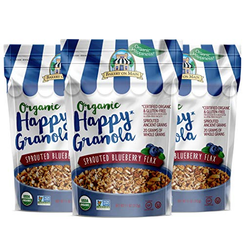 Bakery On Main Gluten-Free, Organic Happy Granola, Sprouted Blueberry Flax, 11 Ounce Bag (3 Count)