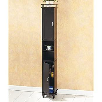 Amazon Com Slim Storage Cabinet White Kitchen Amp Dining