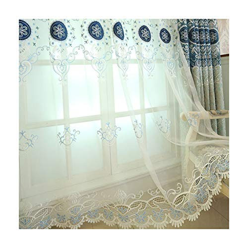 Aside Bside Transparent Window Decoration Rod Pocket Top Luxurious Embroidered Victorians Pattern Sheer Curtain For Sitting Room Girls Room and Houseroom (2 Panels, W 52 x L 104 inch, Blue) For Sale
