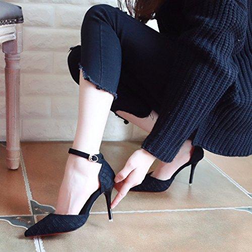 Mot Avec ZHUDJ Mince Fait Superficiellement Chaussures Femme Boucle Unique Chaussures Ressort Talon De Mince Hautes Haut Creux black Un Chaussure R81w8x5