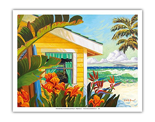 Pacifica Island Art The Cottage at Crystal Cove - Laguna Beach California - Tropical Paradise - From an Original Watercolor Painting by Robin Wethe Altman - Fine Art Print - 11in x 14in