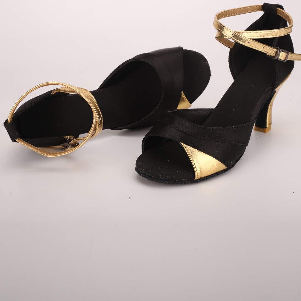 Salsa Ballroom Fish Mouth Sandals Shoe Women/'s Latin Dance Shoes Dancing Rumba Waltz Round Head 3.14 High Heel