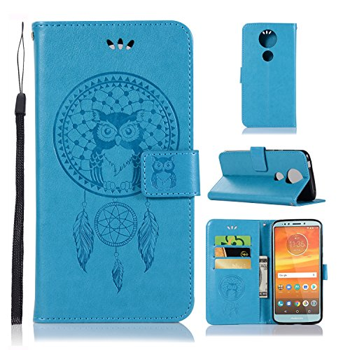 Price comparison product image A-slim Moto E5 Plus Case, Moto E5 Supra Wallet Case, Moto E5 Plus PU Leather Case Flip Case Owl Dreamcatcher Embossed Purse Kickstand Cover Card Holders Hand Strap for Motorola Moto E5 Plus Blue