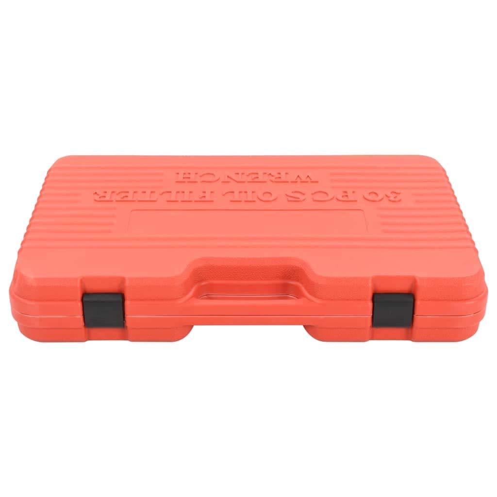 vidaXL Kit de Cl/és de Filtre /à Huile 30 pcs Outils de R/éparation Garage