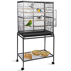 Gaintex 63'' Rolling Bird Cage with Stand & Storage Shelf Large Wrought Iron Cage for Cockatiel Conure Parakeet Lovebird Canary Finch Budgie Pet House 4 Feeding Doors and Cups 119