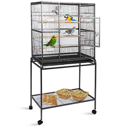 Gaintex 63'' Rolling Bird Cage with Stand & Storage Shelf Large Wrought Iron Cage for Cockatiel Conure Parakeet Lovebird Canary Finch Budgie Pet House 4 Feeding Doors and Cups ()