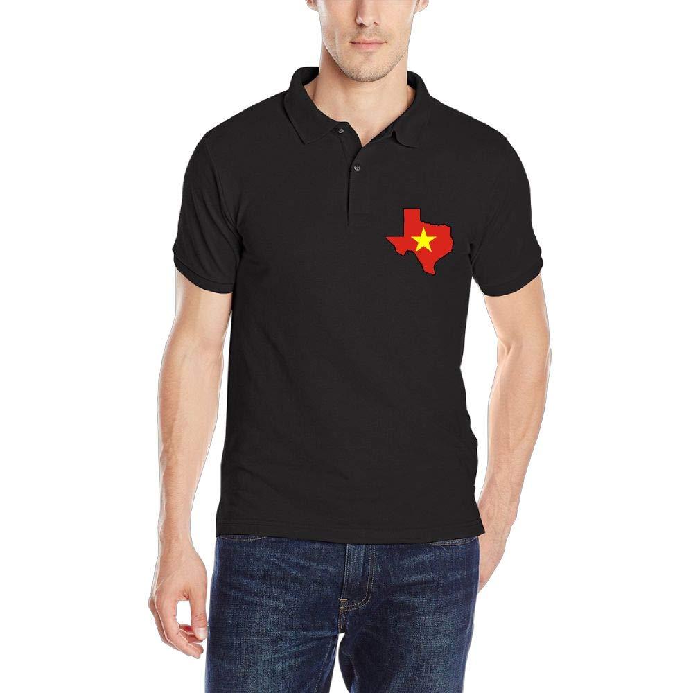 Vietnam Flag Texas Map Mens Short Sleeve Polo Shirt Regular Blouse Sport Tee