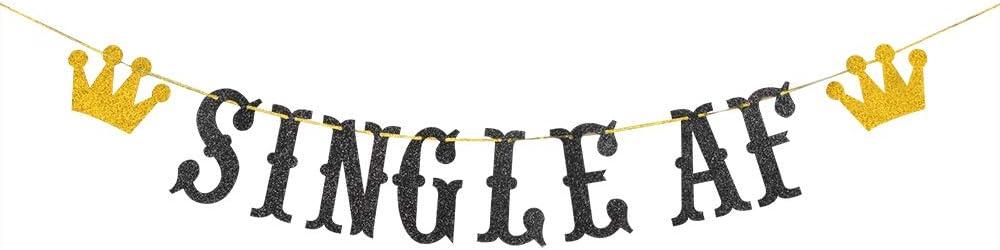 Halawawa Single AF Banner, Newly Unwed, Just Divorced, Broken Up, Free at Last, Bye Felicia, Divorce AF Bunting Decor Decorations Supplies Backdrop - Black and Gold