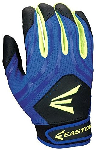 Easton Hyperskin HF3 Fastpitch Batting Gloves, Black/Blue/Optic, Large