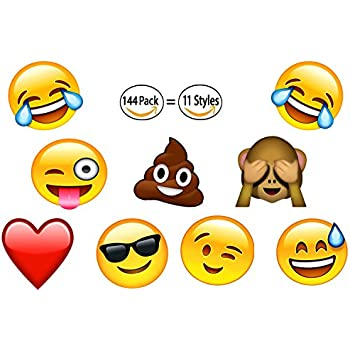 144 2 inch Temporary Emoji Tattoos - 12 Assorted Emoticon Easy To Remove Fun Tattoo - Great Treats For Your Party! Kid Friendly 4E's Novelty