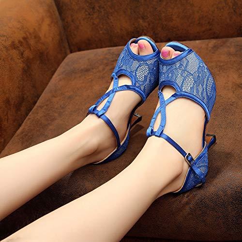 Danse Boucle Xiaoy Chaussures Cheville Size Blue7 Satin Latine 5 Femme 9 Cross De Lanière Sangle 8qSTxaq