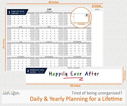 HEA Large Dry Erase Wall Calendar 2019 58'' x 48''   Premium New Laminate   Blank Undated, Reusable & Erasable 12 Month Annual Planner   Classroom, Fiscal Year, Office, Project & Family Schedule by Happily Ever After (Image #1)