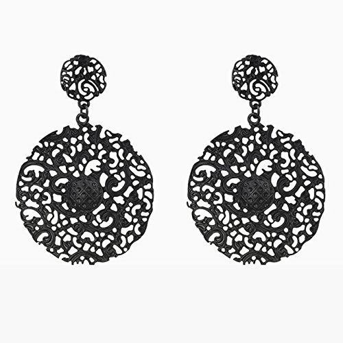 J Goodin Precious Womens Fashion Ornament Black Brushed Vintage Lace Earrings