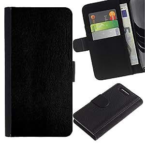 KingStore / Leather Etui en cuir / Sony Xperia Z1 Compact D5503 / Cuero Gris Textura de madera del grano