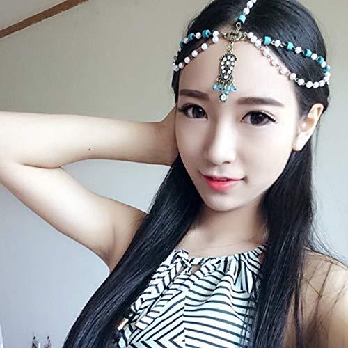 - Bohemian Seaside Resort Hair Accessories Headdress Indian Goddess Exaggerated Amount Chain Gemstone Necklace Pendant Jewelry Women Girls Beach (Blue and White Beads Models