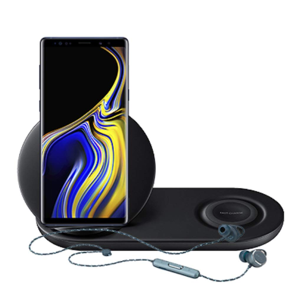 Samsung Galaxy Note 9 Factory Unlocked Phone 128GB with Black Wireless Charger Duo and AKG N200 Bluetooth Earbuds