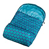 bag with hood - Stay Warm Sleeping Bag, Wildkin Children's Sleeping Bag with Attached Hood and Matching Storage Bag, Water-Resistant Microfiber, Temperature Rated at 30 Degrees Fahrenheit, Ages 5+ years, Big Dot Aqua