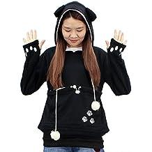 Womens Kangaroo Pouch Hoodie Long Sleeve Pet Cat Dog Holder Carrier Sweatshirt