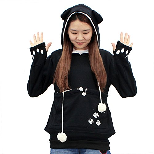 Womens Kangaroo Pouch Hoodie Long Sleeve Pet Cat Dog Holder Carrier Sweatshirt XL Black