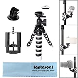 Fantaseal Robust Octopus Mini Tripod Cellphone + DSLR Camera + GoPro Action Cam 4-in-1 Gorillapod Flexible Tripod Mount Outdoor Tripod Table Desk Tripod Travel Portable Tripod Stand w/ Quick Release Plate + Cellphone Clamp (50-100mm) w/ Microfiber Lens Cloth + Ball Head for Nikon Canon Pentax Sony Olympus Panasonics DSLR Camera / Camcorder + GoPro Hero 5 / 4 / Hero 3+ / GoPro Hero / GoPro Hero+L