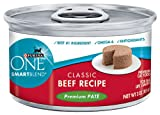 Purina ONE Cat Food Classic Beef Recipe Premium Pate, 3-Ounce (Pack of 24), My Pet Supplies