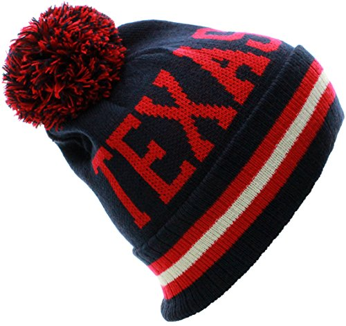 US CIties Texas Block Letters Cuff Beanie Knit Pom Pom Hat - Us City Texas