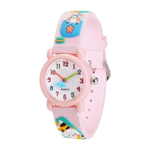 WOLFTEETH Grade School Girls Reloj de Pulsera analógico Resistente al Agua Reloj Deportivo, Regalo de día Escolar, 3D Kitten Correa de Reloj de Color Rosa ...