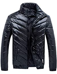 Men's Plus Size Winter Warm Shiny Lightweight Stand Collar Zipper Down Puffer Jacket