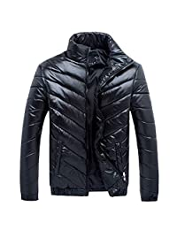 PLENTOP Men's Winter Leisure Zipper Pocket Down Jackets Stand Collar Outwear Coat