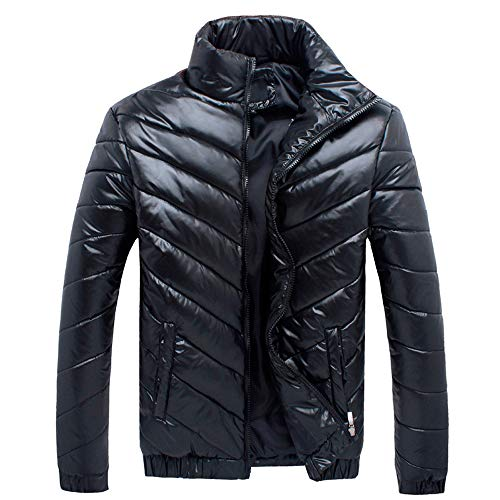Mens Jacket Godathe Men's Winter Leisure Zipper Pocket Down Jackets Stand Collar Outwear Tops Coat ()