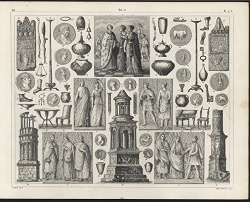 Ancient Greece Rome Columns Vases Pottery c1850 Heck antique detailed engraving
