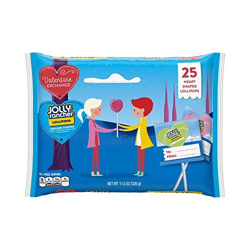 Lollipops Valentines Day (Jolly Rancher Valentine's Lollipops Assortment, 11.5 Ounce, 25 Count)