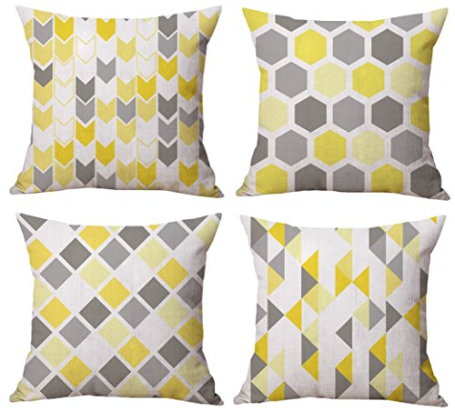 Modern Simple Geometric Style Cotton & Linen Burlap Square Throw Pillow Covers, 18 x 18 Inches, Pack of 4 (Yellow Blocks)
