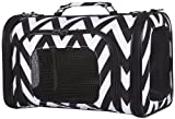 Ever Moda Chevron Pet Carrier Purse (Black) (Black) (15 Inch, Black)