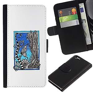 LASTONE PHONE CASE / Lujo Billetera de Cuero Caso del tirón Titular de la tarjeta Flip Carcasa Funda para Apple Iphone 6 4.7 / Aquarium