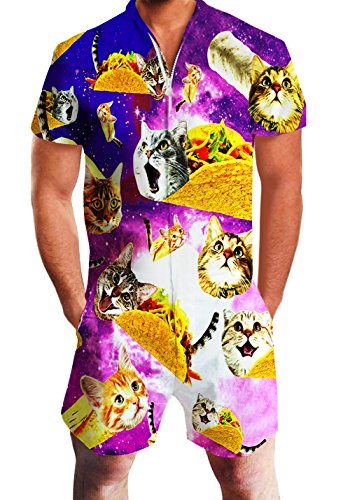 Men's Rompers Male Zipper Jumpsuit Shorts Galaxy Taco Cat Printed One Piece Slim Fit Outfits Bro Short Sleeve Overalls]()