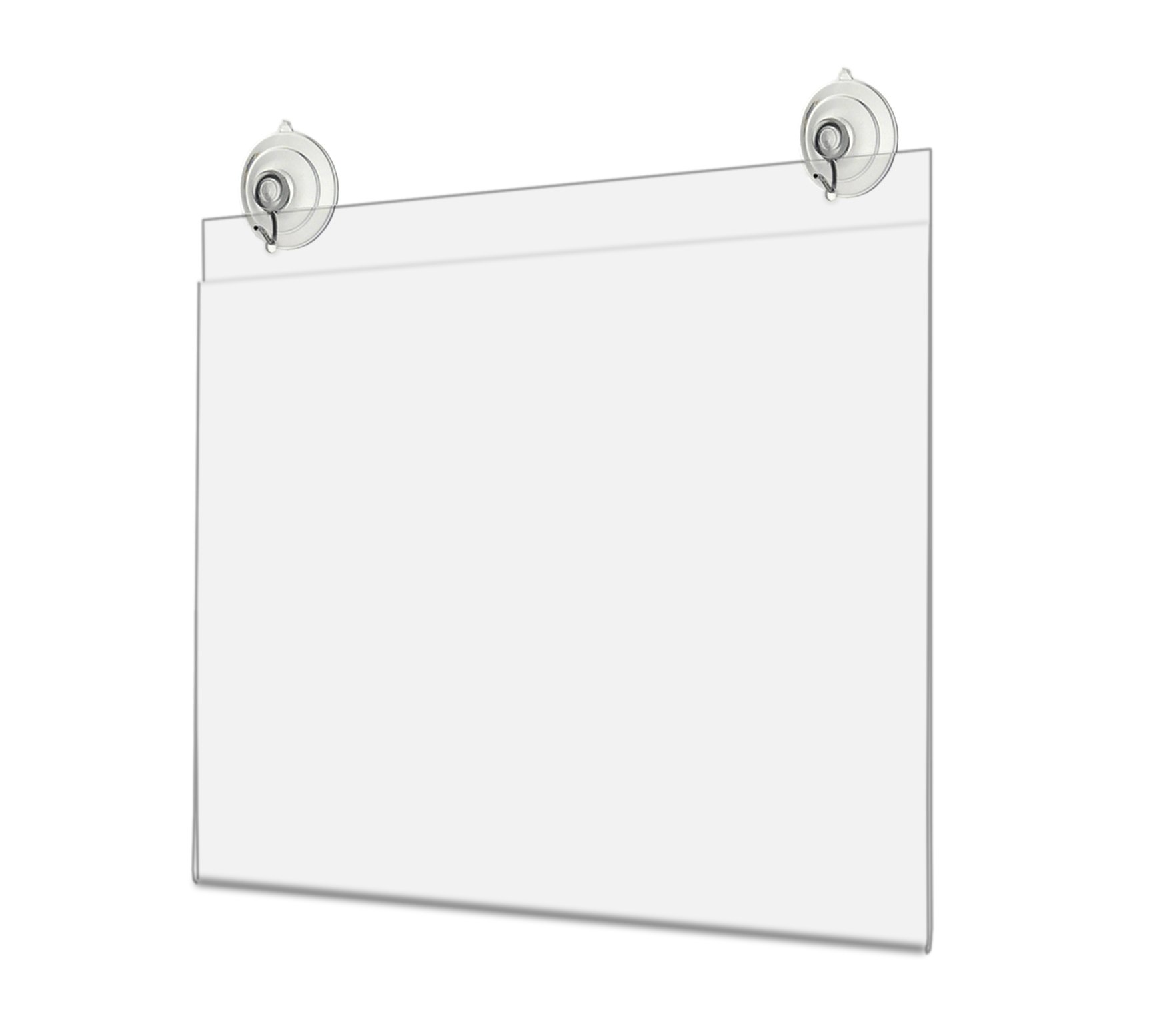 Marketing Holders Window Flyer Frame Glass Mount Advertisement Sign Display Literature Holder with Suction Cups and Hanging Hooks (1, 14''w x 11''h Pack of 24)