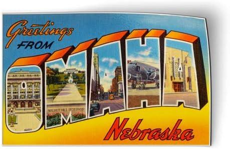 """Greetings From Omaha Nebraska 2/"""" X 3/"""" Fridge Magnet."""